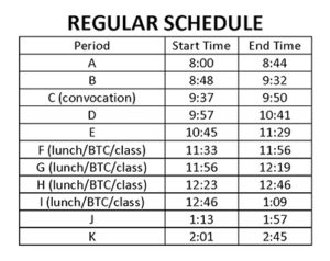 Refer to this regular schedule.