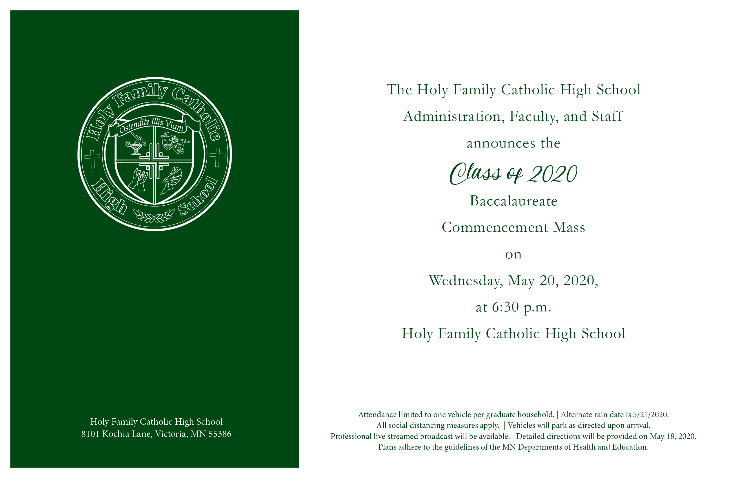 Class of 2020 Baccalaureate & Commencement Mass Featured Image.